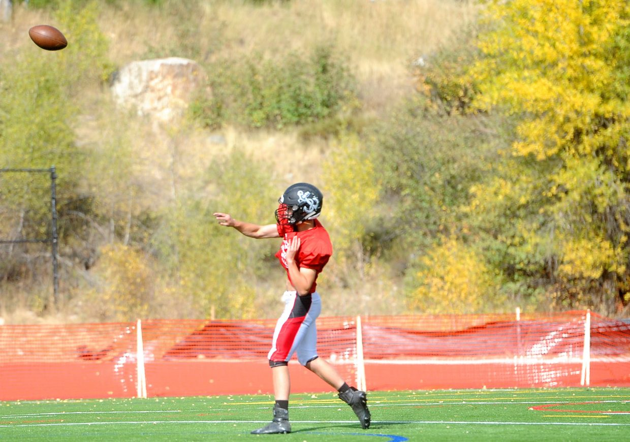 Steamboat Sailors junior quarterback Diego Effinger throws the ball at practice Wednesday, Sept. 5.