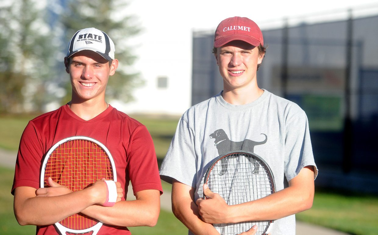 Junior Gabe Rabanal (left) and senior John Hanaway (right) are currently the No. 1 doubles team for Steamboat Springs High School.