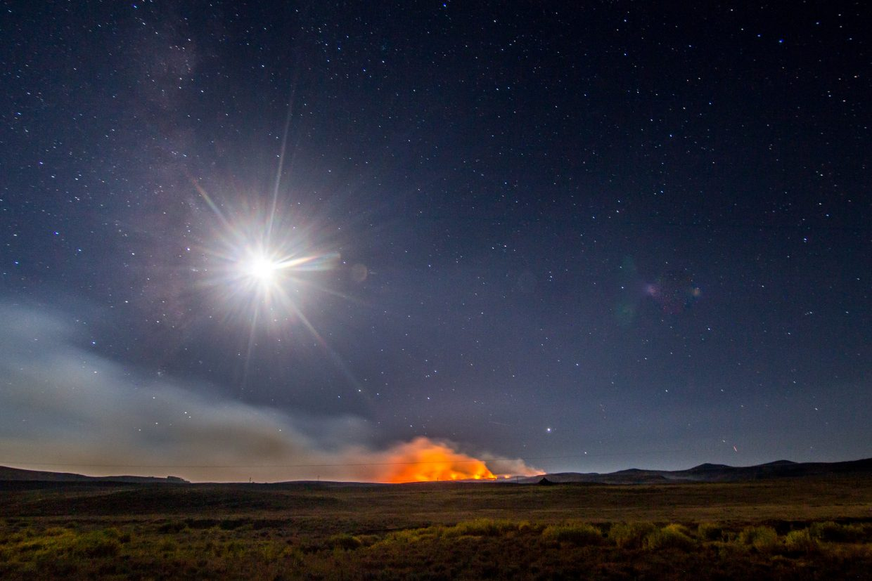 The Silver Creek Fire rages at night.