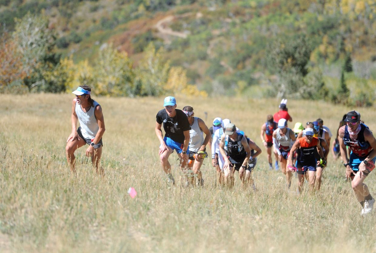 Runners climb up Steamboat Ski Area in their first 2 miles of the Run Rabbit Run 100 on Friday, Sept. 14.