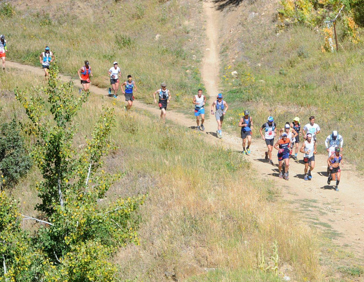 Runners in the hare division of the Run Rabbit Run 100 started their race at noon on Friday, Sept. 14. The Hare division includes elite ultra runners competing for a $13,500 prize. Pictured is a group of hares beginning their ascent up Steamboat Ski Area.