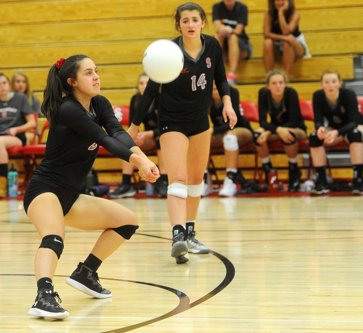 Steamboat Springs junior Lauren Ehlrich digs a hit in the match against Eagle Valley at Steamboat Springs High School on Sept. 13.