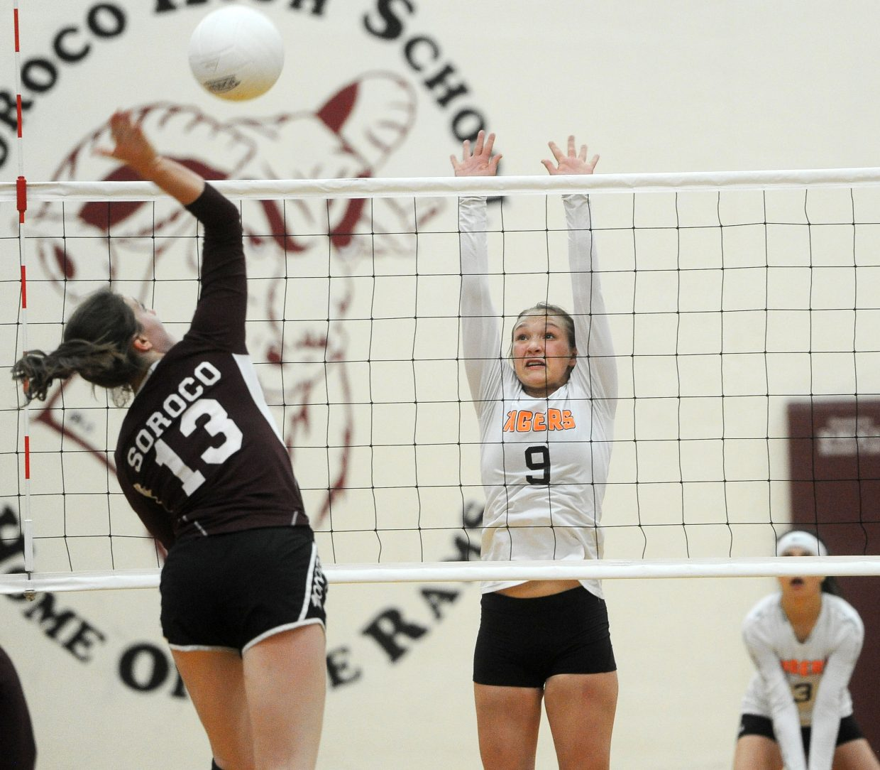 Soroco sophomore Makinley Parker lands a kill against Hayden at Soroco High School on Saturday, Sept. 29. Parker leads the Rams with 32 kills and 10 total blocks as one of the Rams top front-row weapons this year.