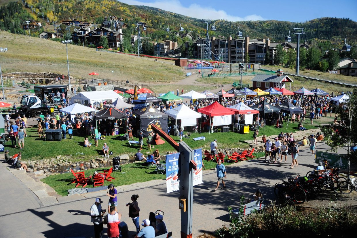 People crowd the base of Steamboat Resort on Saturday during Steamboat OktoberWest.