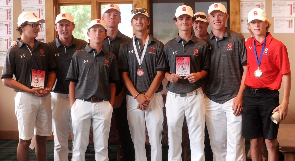 The Steamboat Springs High school varsity boys golf team placed third overall at its host tournament at Haymaker golf course. The junior varsity took first overall. From left to right: Tommy Henninger, Jack Rotermund, Ollie Rotermund, Beck Culhman, Jack Thompson, coach Tim Dever, Colton Sankey and Ryan McNamara.