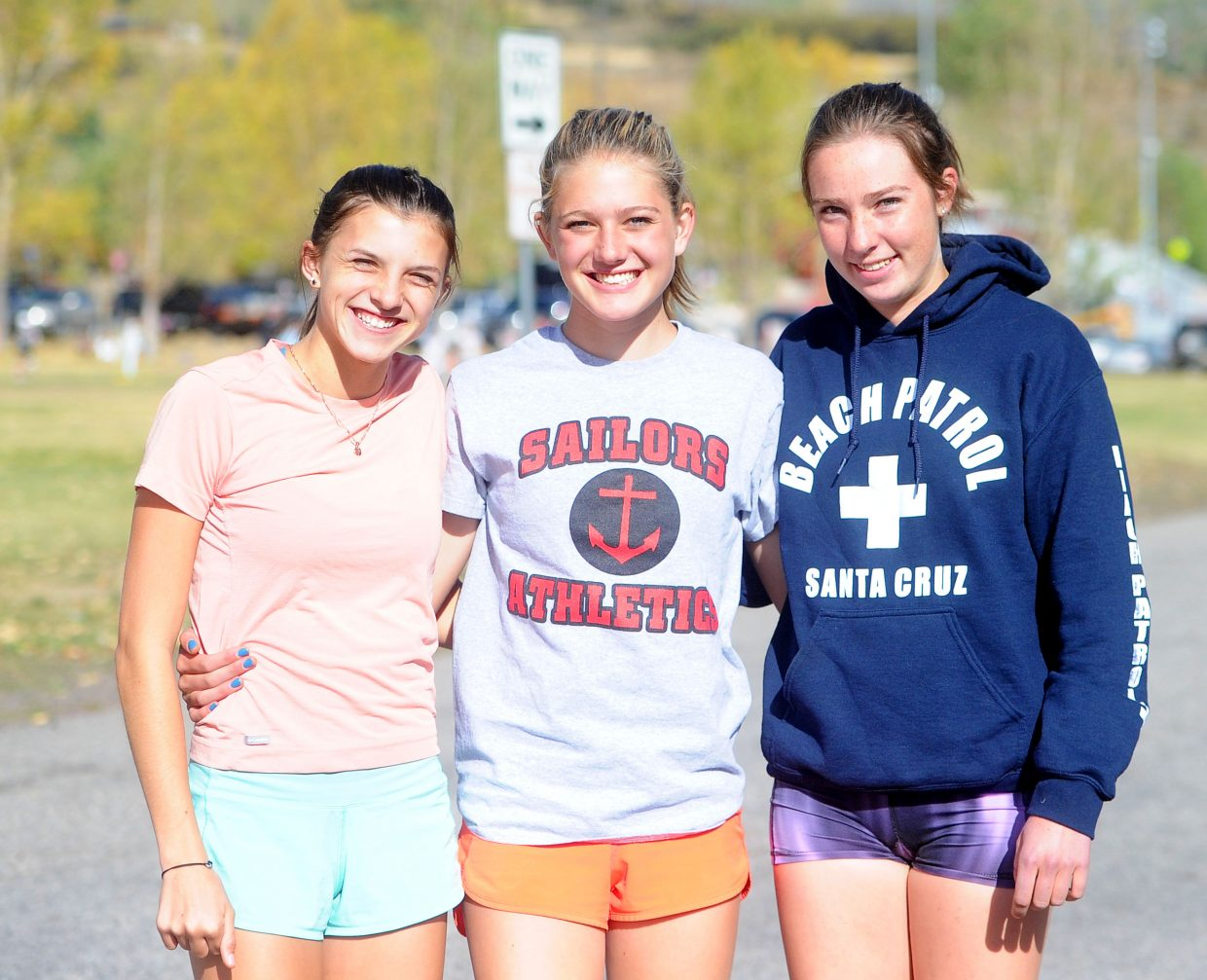 Junior Maggi Congdon, left, and seniors Isabelle Boniface, middle, and Winter Boese, right, will travel to the Stanford Invitational in Stanford, California, Saturday, Sept. 29.