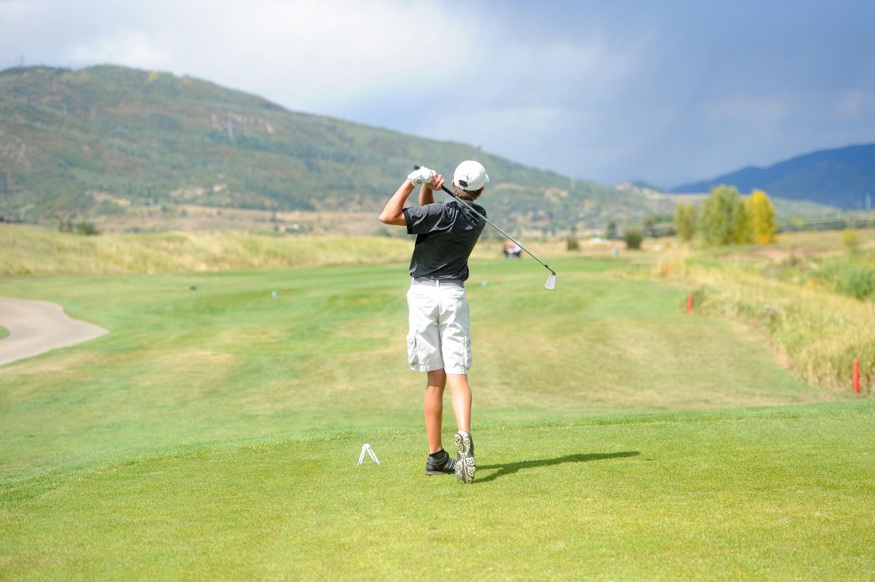 Steamboat Springs varsity freshman Travis Seitz takes a swing at Haymaker Golf Course Thursday, Sept. 6 during the Steamboat Springs High School Invitational.