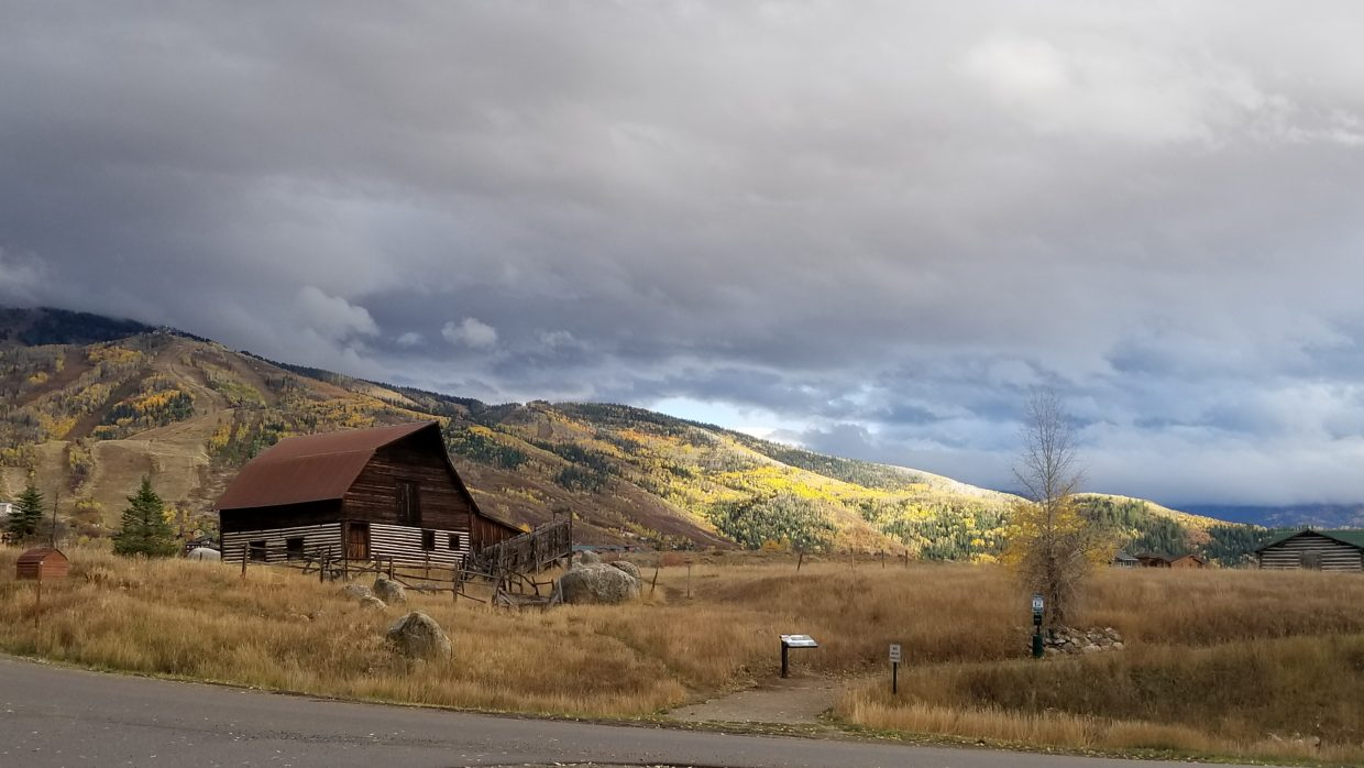 Storm clouds gather over Steamboat Springs.