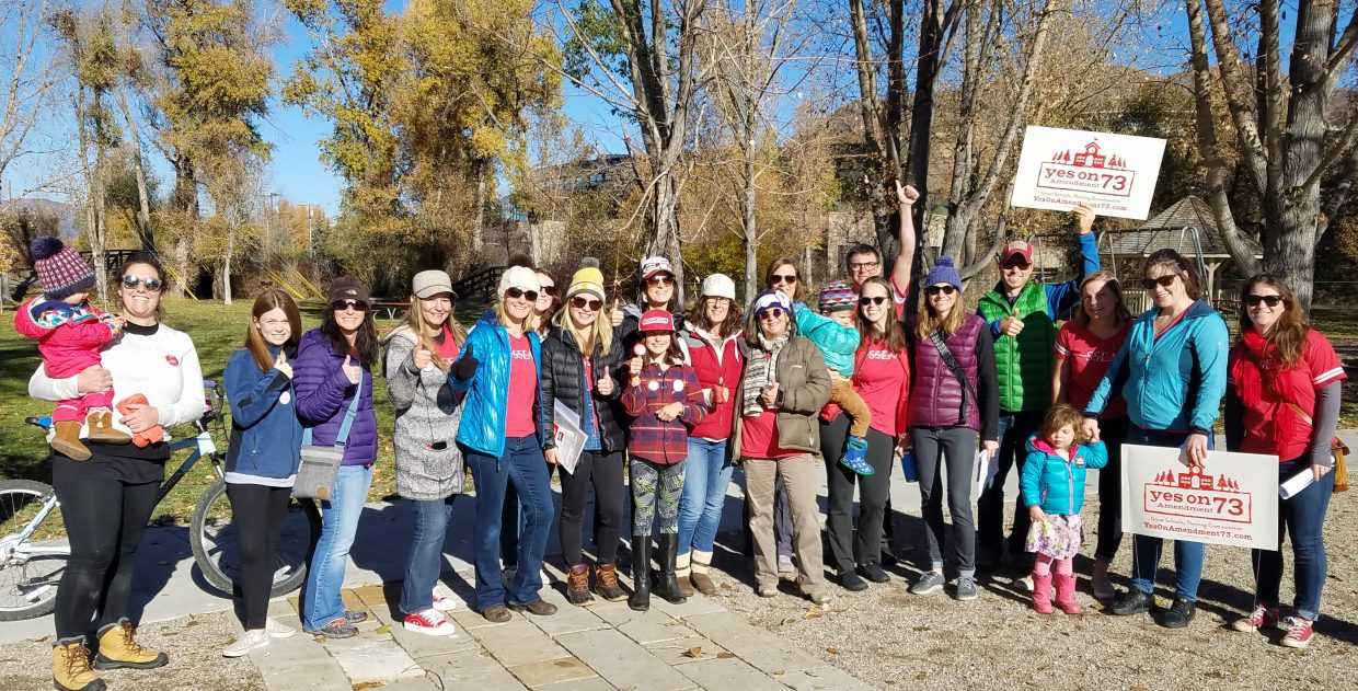 Steamboat teachers knocked on doors today to advocate for students, and to urge our community to vote YES on Amendment 73.