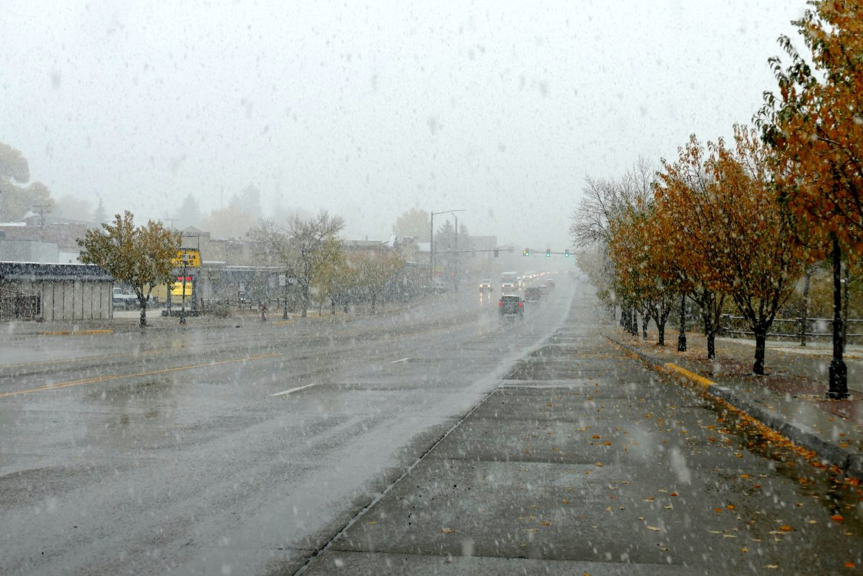 It is snowing very hard in Steamboat Springs with big fat flakes.