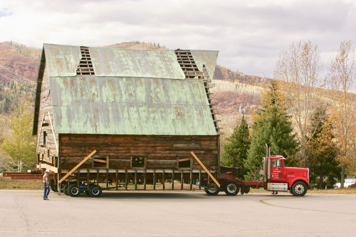 The Arnold Barn starts its move to its new home up at the ski area.