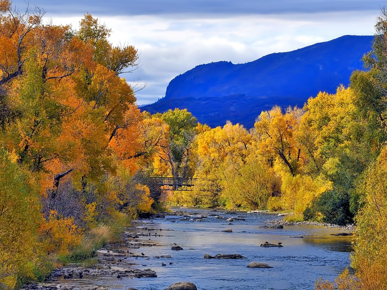 The Yampa River is surrounded by orange and cold leaves.