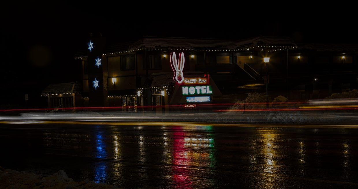 Lights reflect in downtown Steamboat Springs.