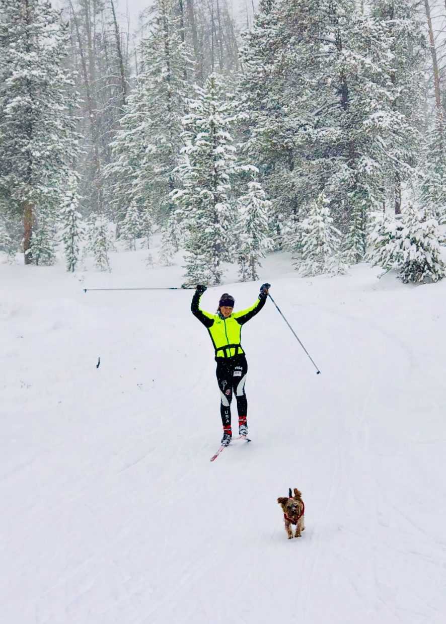 Essi Kenttala and her dog enjoy a fun day of back country skiing.