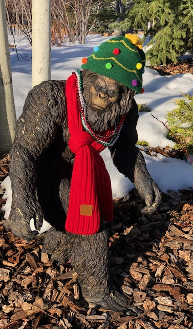 Sasquatch dressed and ready for the holidays.