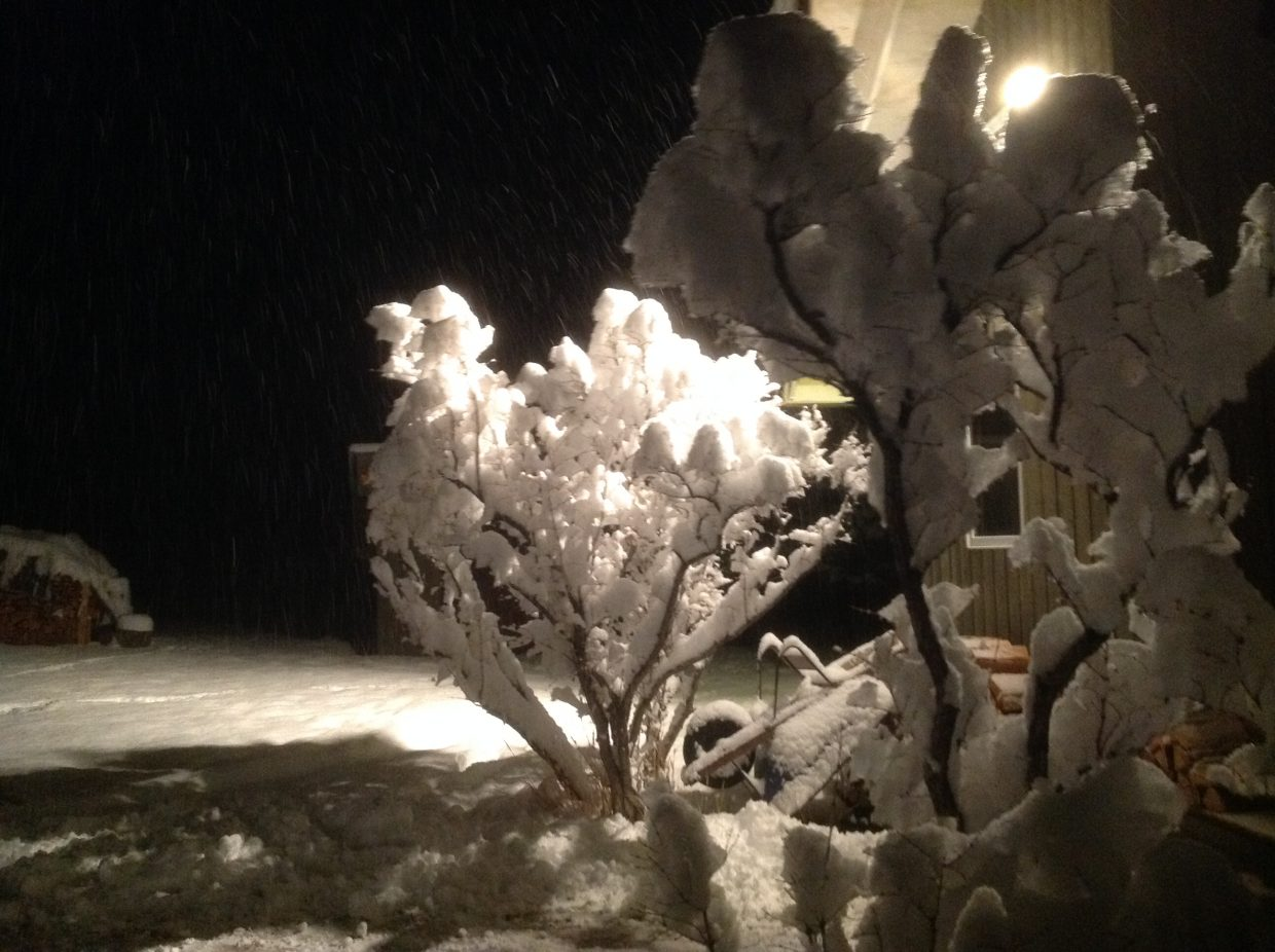 Snow covered the Yampa Valley on Sunday and early Monday morning.
