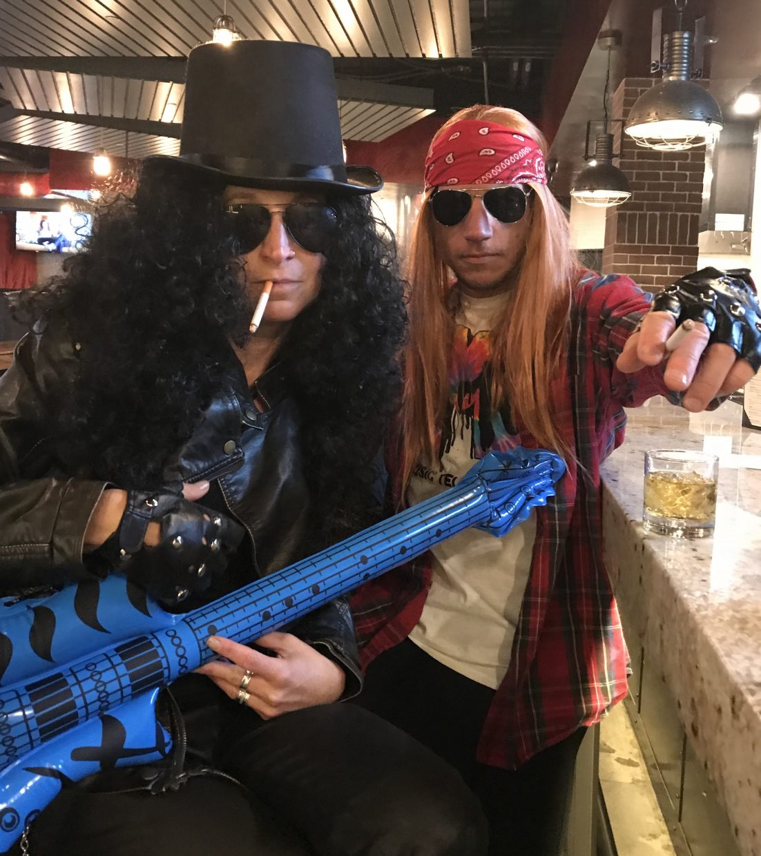 Two rockstars hang out to celebrate Halloween.