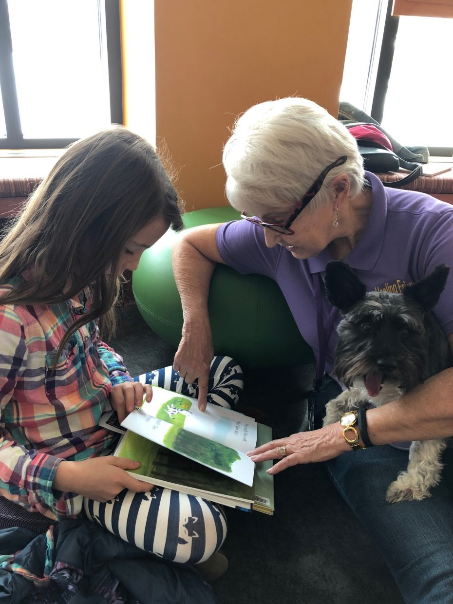 Lucy Fryer, 8, reads to Heeling Friends volunteer Donna and her miniature schnauzer Lucy at Bud Werner Memorial Library.