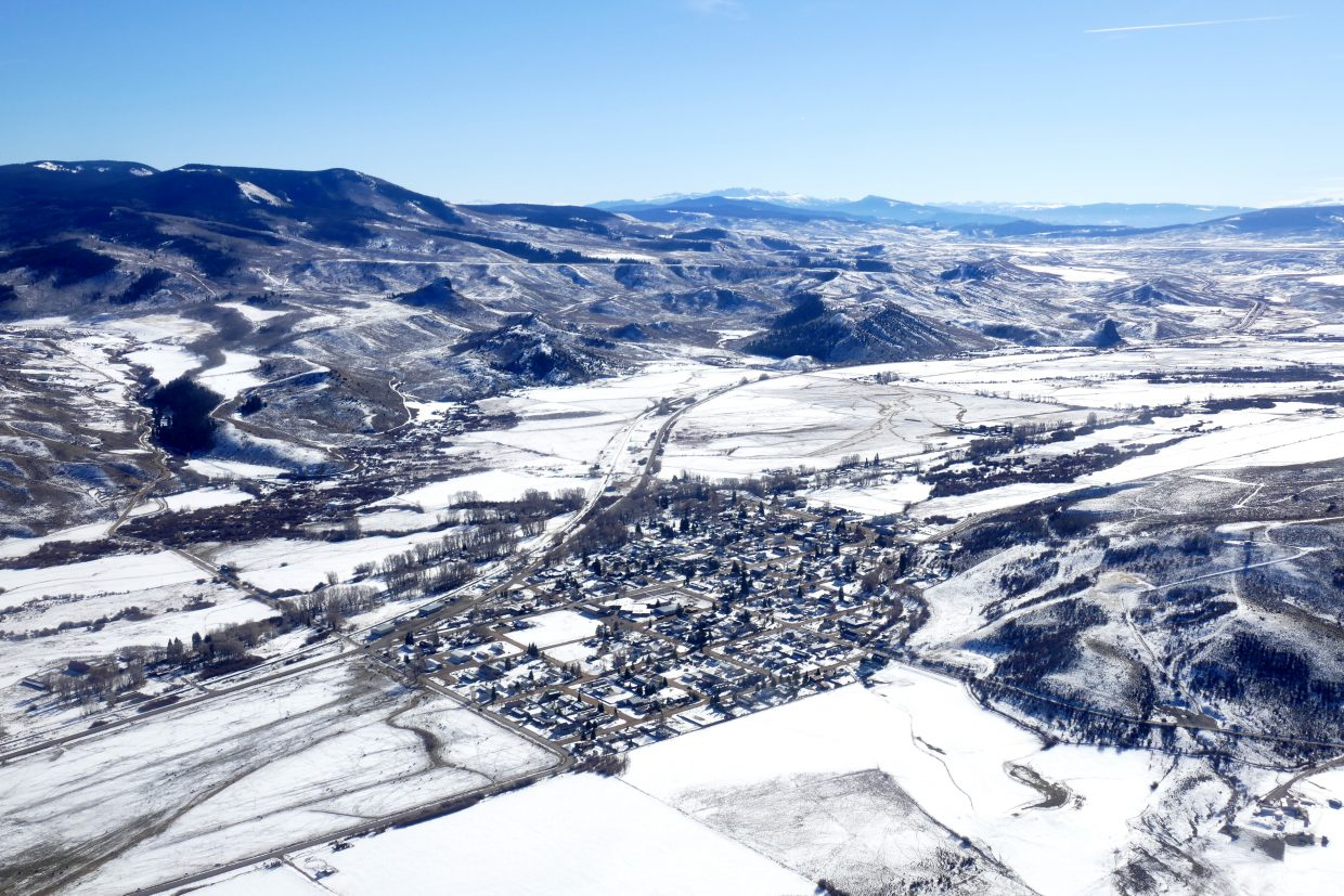 I was invited to fly over the Yampa Valley today with EcoFlight out of Aspen. Pictured is the town of Yampa.