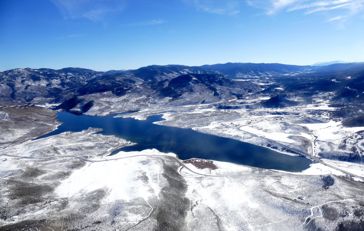 I was invited to fly over the Yampa Valley today with EcoFlight out of Aspen. Pictured is Stagecoach Reservoir.