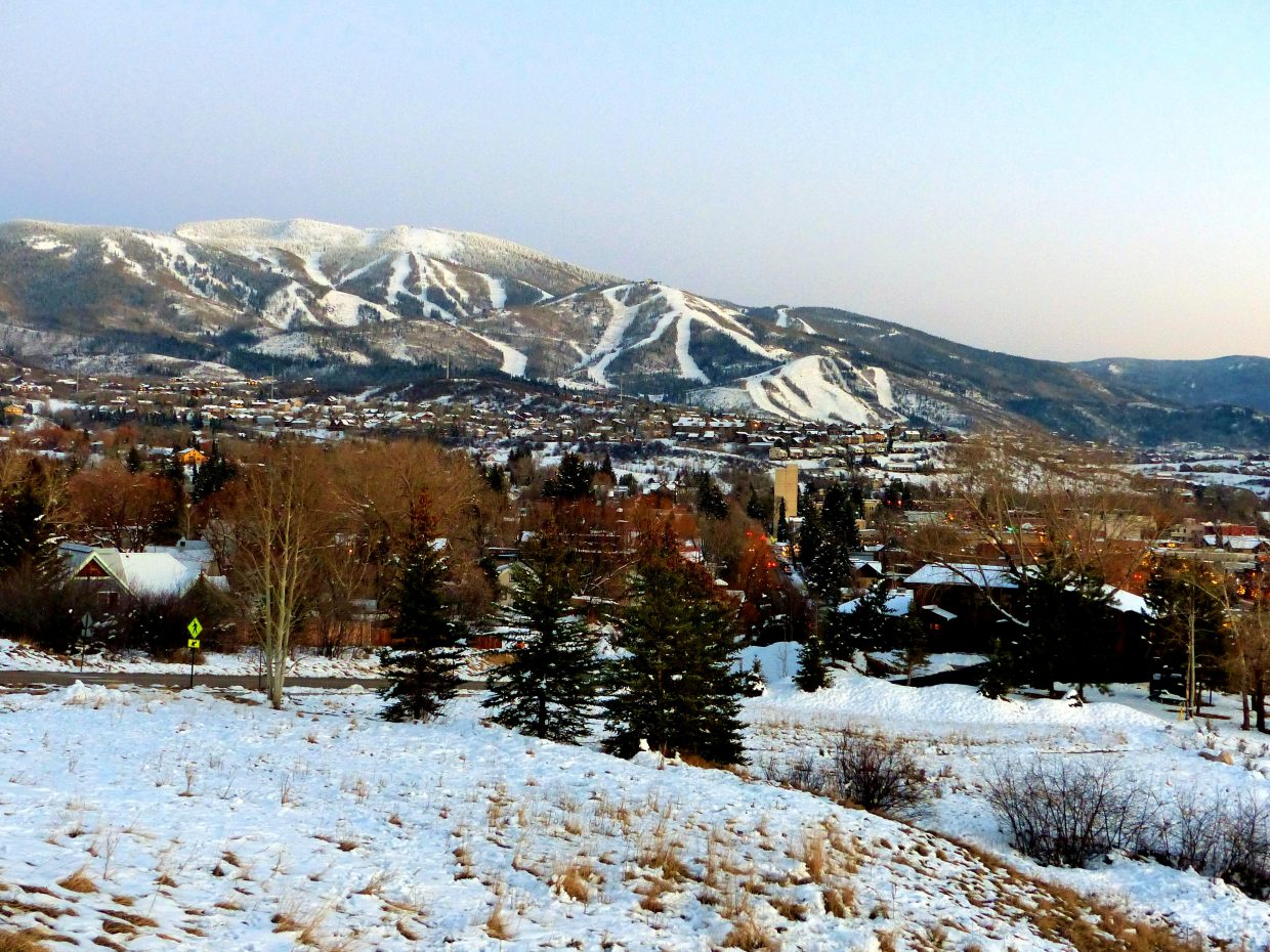 Steamboat tonight, at dusk, taken from CMC.