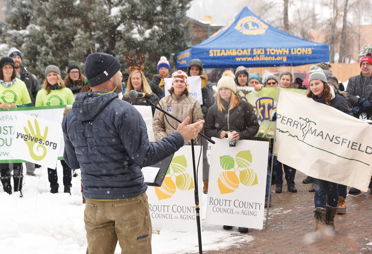 Mark Andersen, executive director of the Yampa Valley Community Foundation, speaks at a Yampa Valley Gives Day rally Friday morning. The rally builds energy among nonprofits and awareness for the annual day of giving, which takes place Tuesday, Dec. 4. This year, Yampa Valley Gives Day hopes to help nonprofits in Routt and Moffat counties raise $1 million in 24 hours of online giving. To date, the effort has helped raise over $2.2 million for local charities.