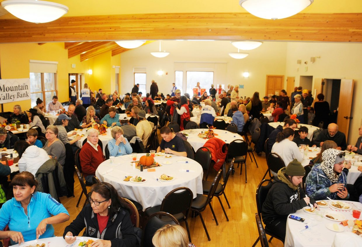 People gather for Routt County United Way Community Thanksgiving Dinner.