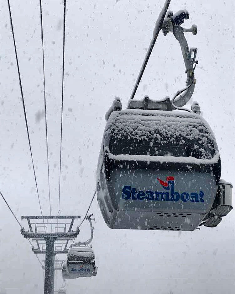 Snow covers up the gondola on Mount Werner.