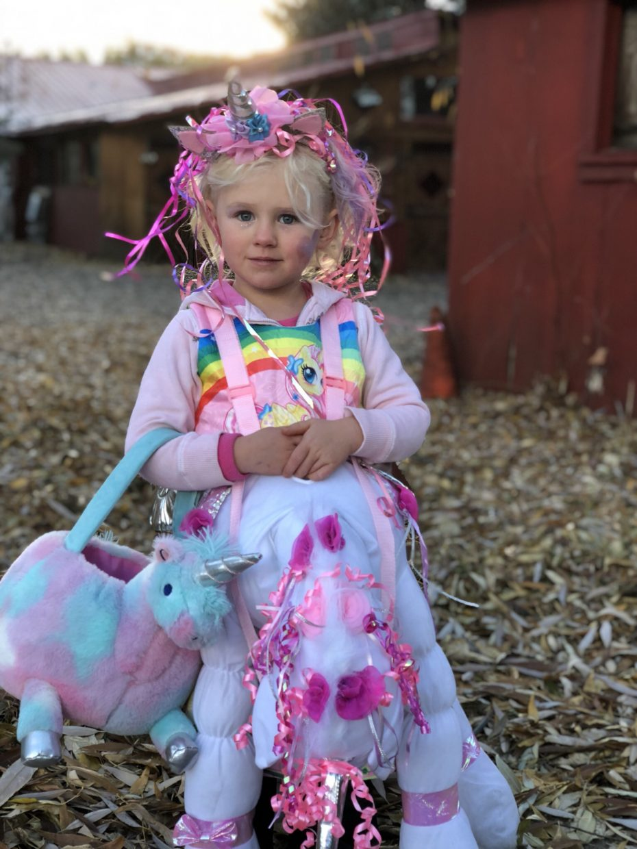 A little pony celebrates Halloween.