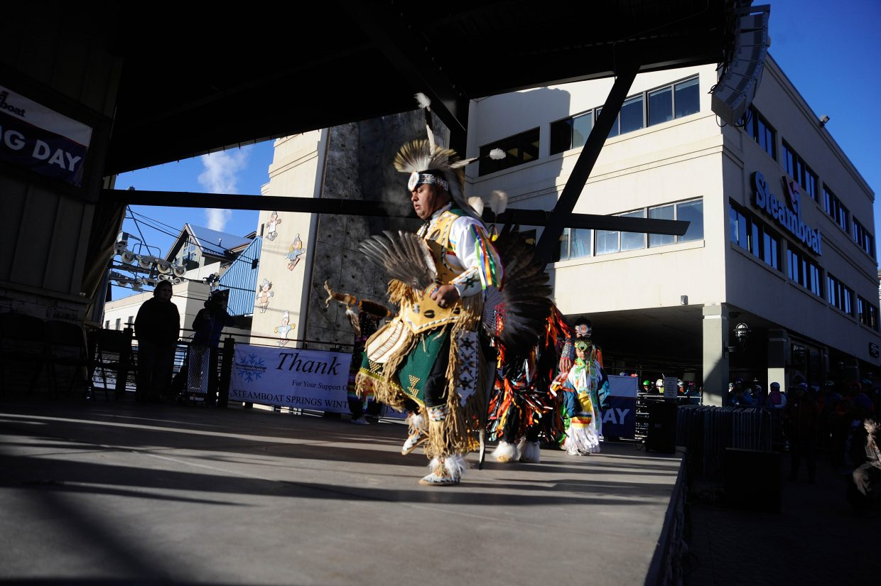 North Ute Indian Tribe member Brian Cervantes dances during Opening Day on Wednesday at Steamboat Resort.