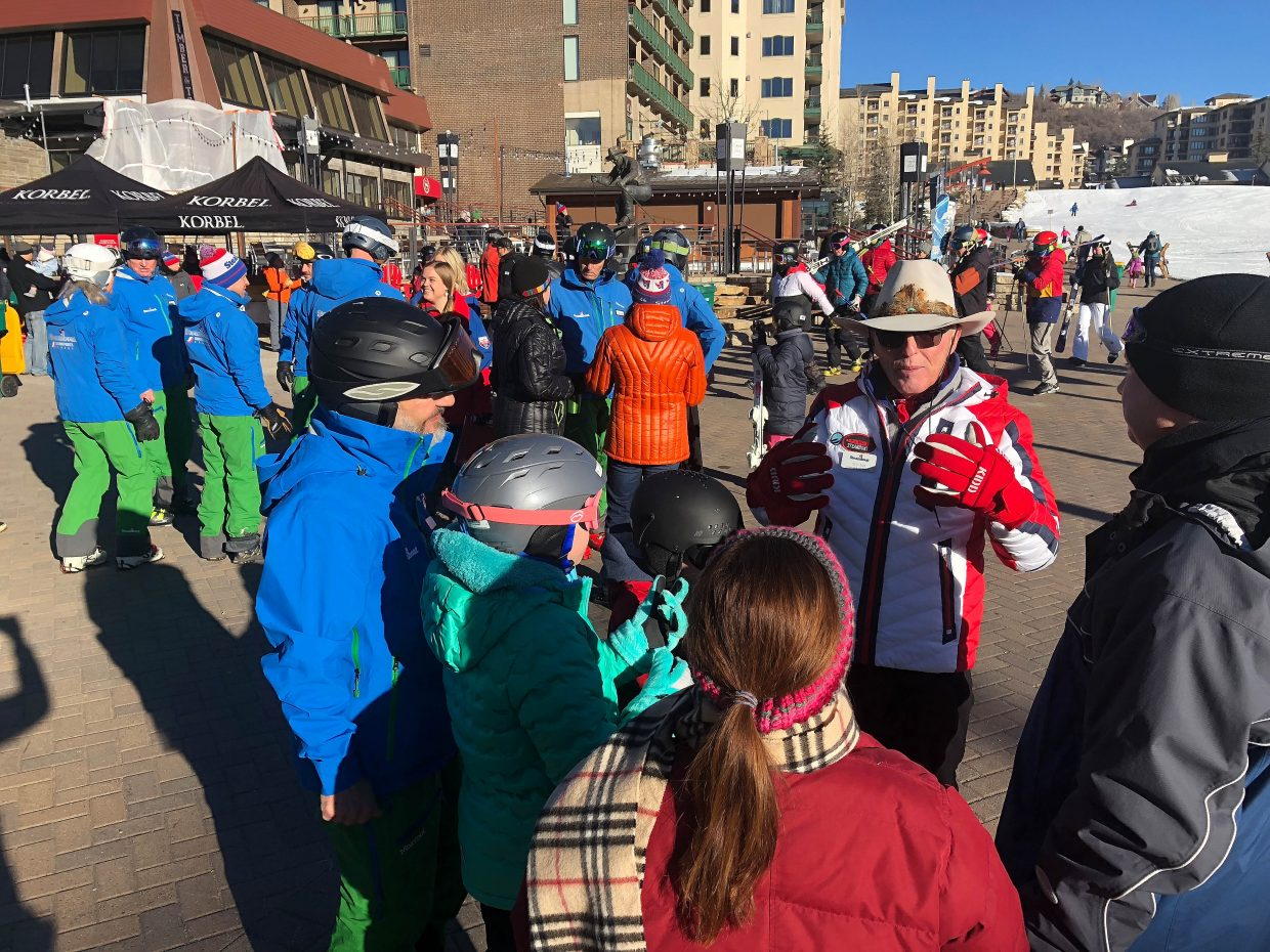 Billy Kidd visits with guests Wednesday during Opening Day at Steamboat Resort.
