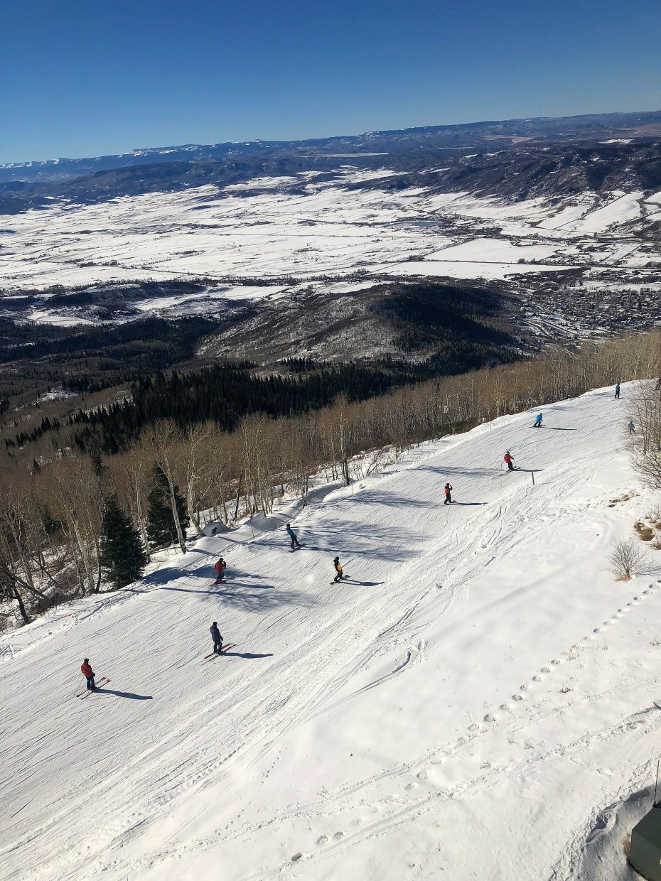 Skiers start their run Wednesday during Opening Day at Steamboat Resort.