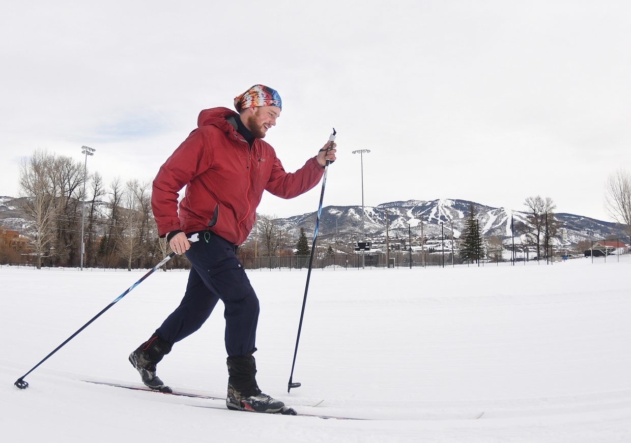 Rudi Hanekamp makes his way around the cross-country trails at the base of Howelsen Hill Monday afternoon.
