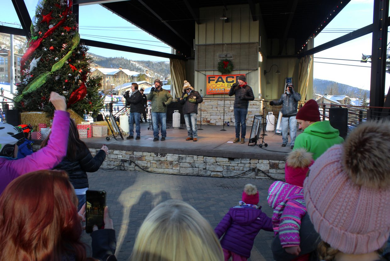 Face Vocal Band, from Boulder, entertained the crowd in Gondola Square with a festive mix of holiday, traditional and popular music during the Holiday Festival.