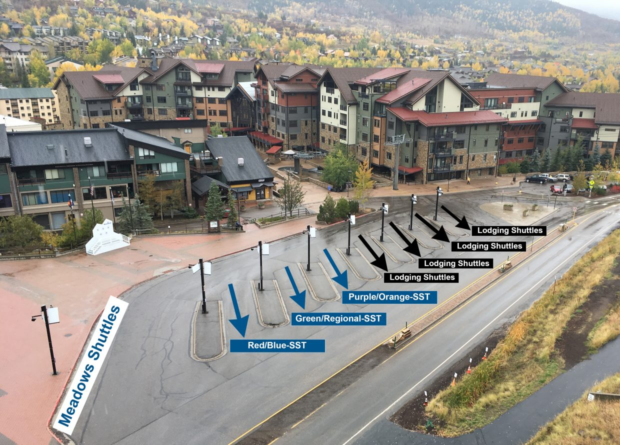 new layout for bus stops at steamboat base area s gondola transit center steamboattoday com new layout for bus stops at steamboat