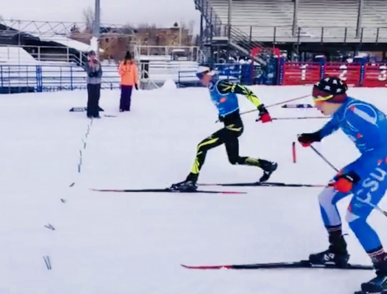 Photo finish of Winter start Nordic combined race in Steamboat Springs.