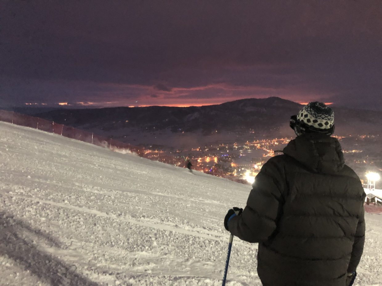 Incredible views and conditions night skiing at Steamboat Resort.