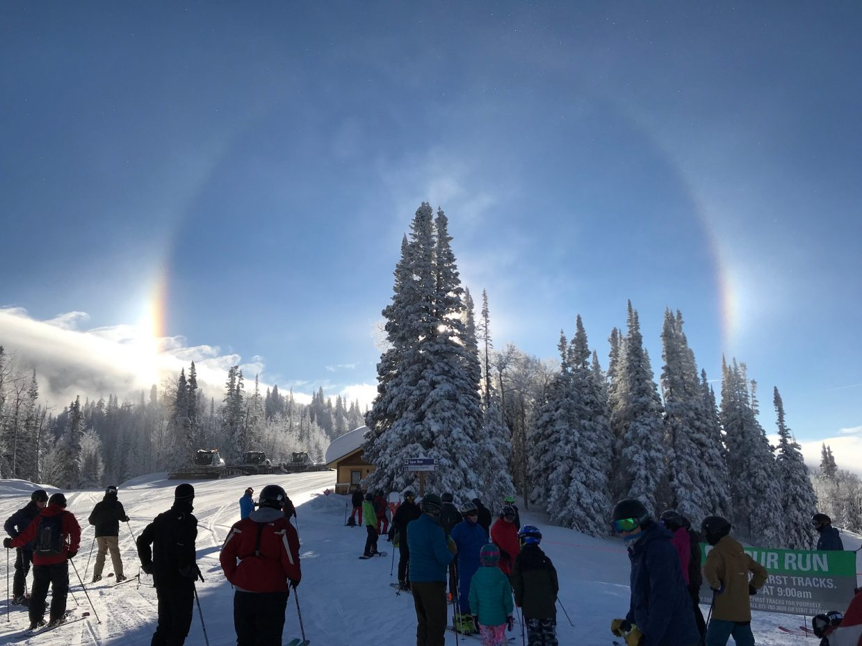 A sundog appears at the top of the gondola at Steamboat Resort.
