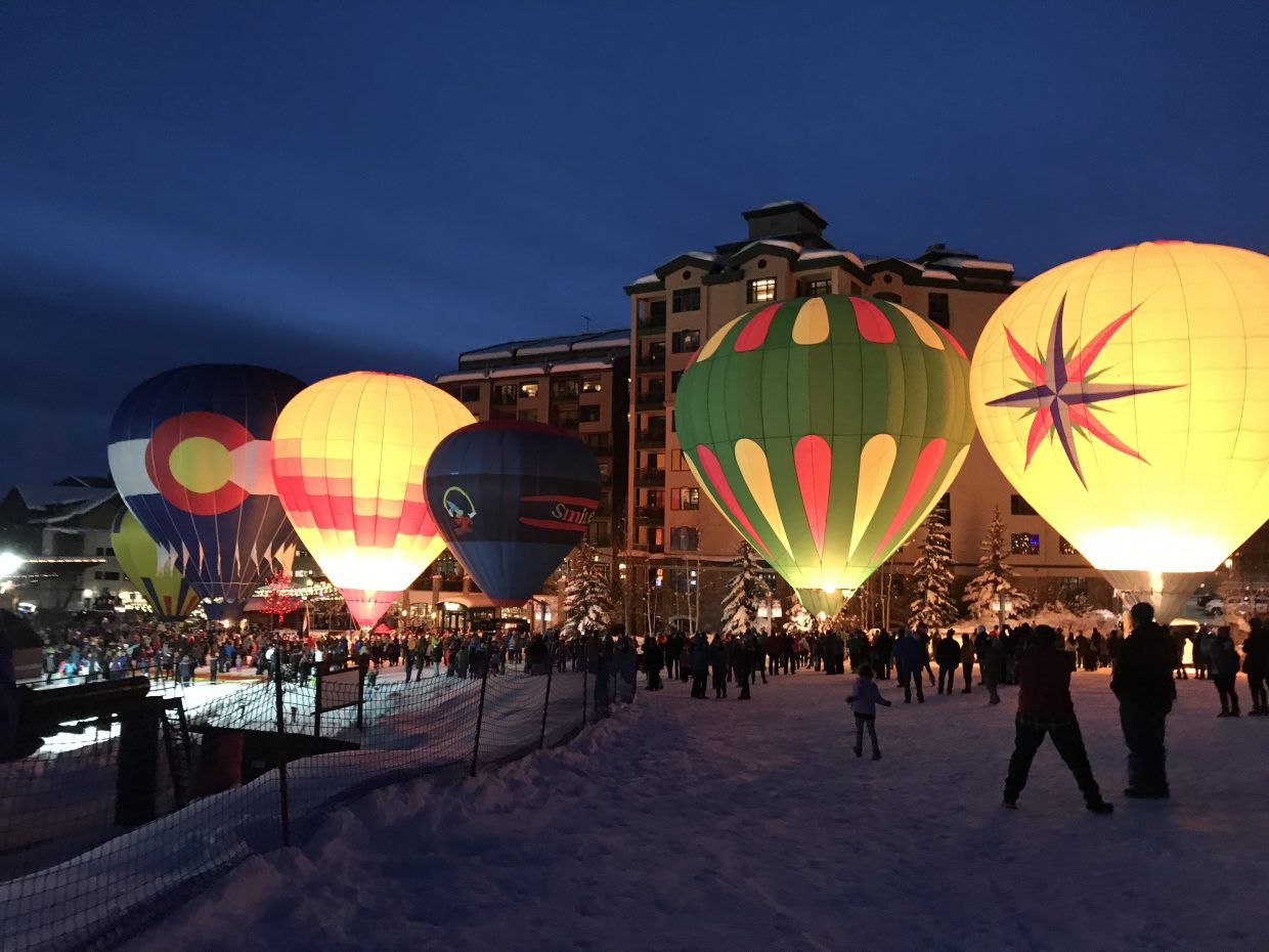 Balloons light up for the Balloon Glow at Steamboat Resort.