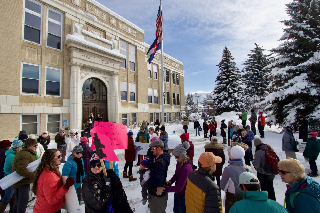 A group of about 100 people gathered in front of thee Routt County Courthouse in support of the 2019 Women's March. This is the third time that Steamboat has hosted the event, which is one among many that occurred in cities across the country.