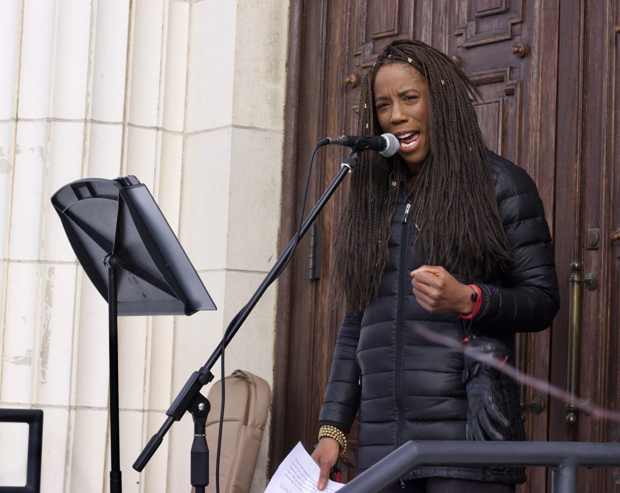 Talay Thomas recites an excerpt of Sojourner Truth's