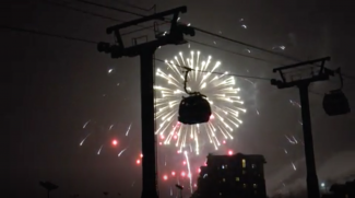 VIDEO: New Year's Eve torchlight parade and fireworks