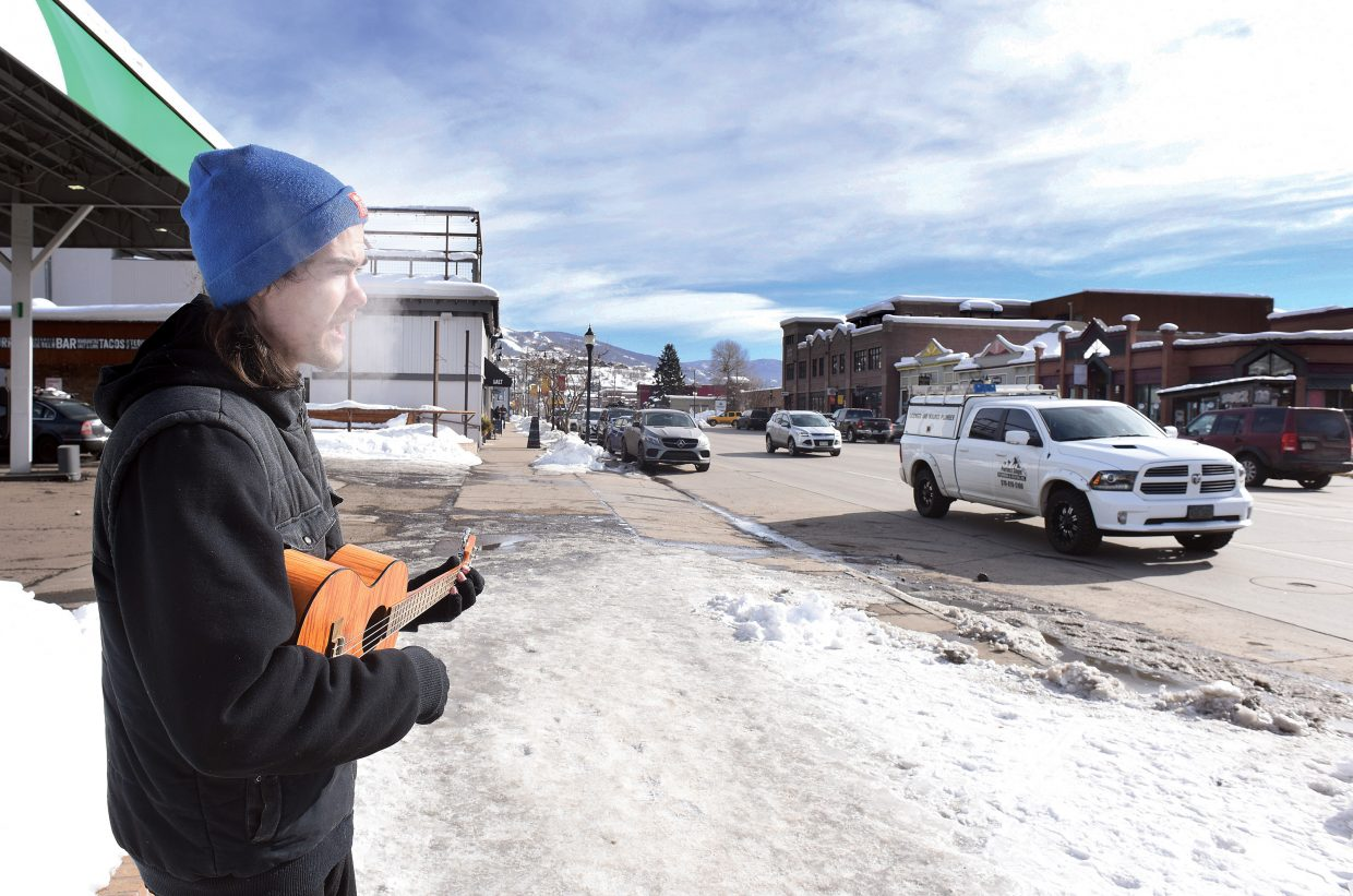 The cold weather didn't stop Steamboat Springs Johnny Lewer from practicing his performance skills on Lincoln Avenue Wednesday afternoon. Lewer was able to pick up a few donations from passers by, and is hoping to fine tune his skills and someday perform inside at a local restaurant of bar.