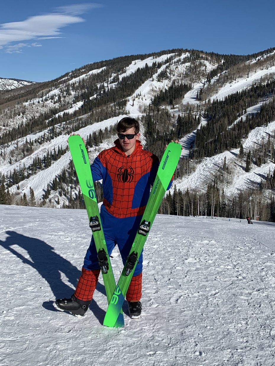Spiderman visited Steamboat Resort for some skiing.