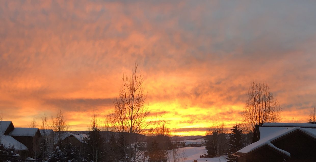 The sun sets over West Steamboat.