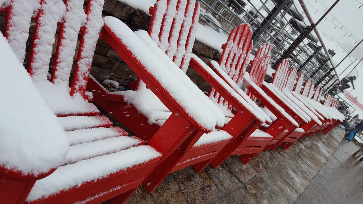 Gondola square today...just as the snow began to pile up at Steamboat Resort.