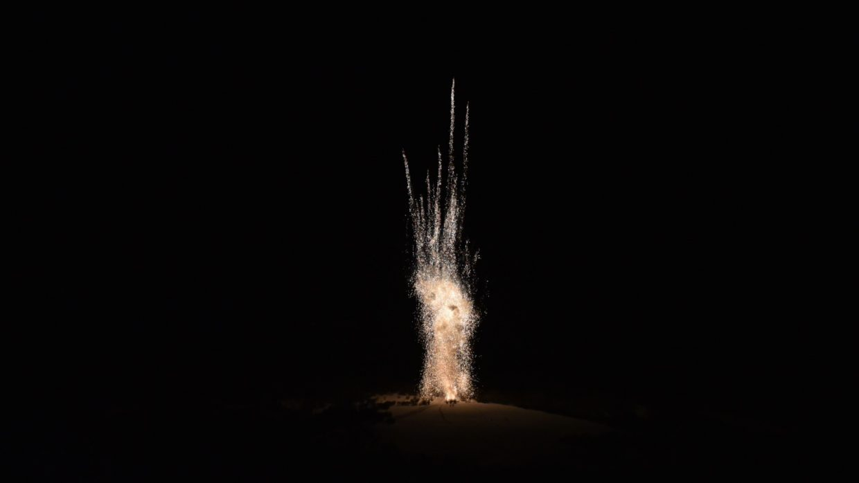 Fireworks shoot off during the Nighttime Extravaganza at Howelsen Hill during Winter Carnival.