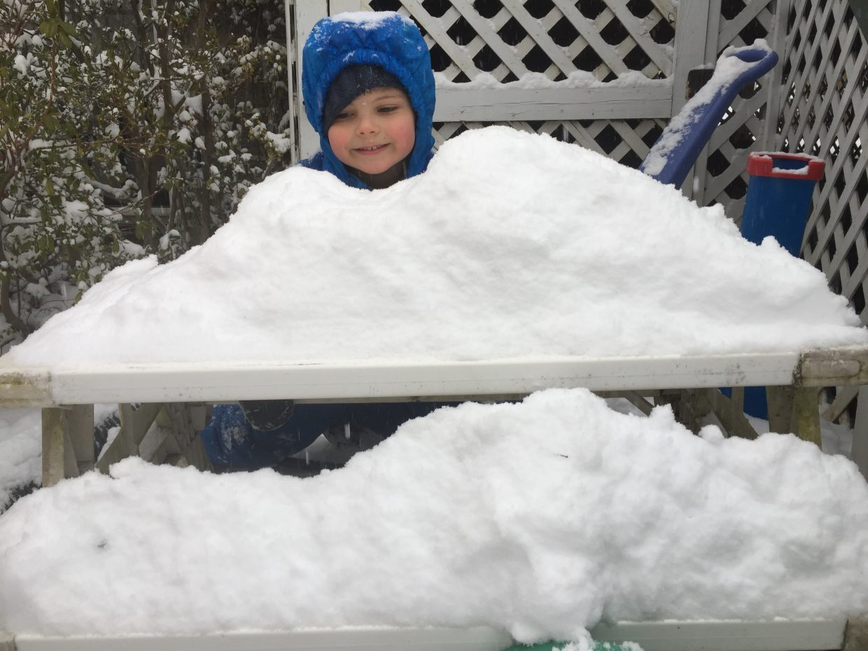 Malcom Hoopes, 6, builds a replica of Mount Werner in his Washington D.C. backyard.
