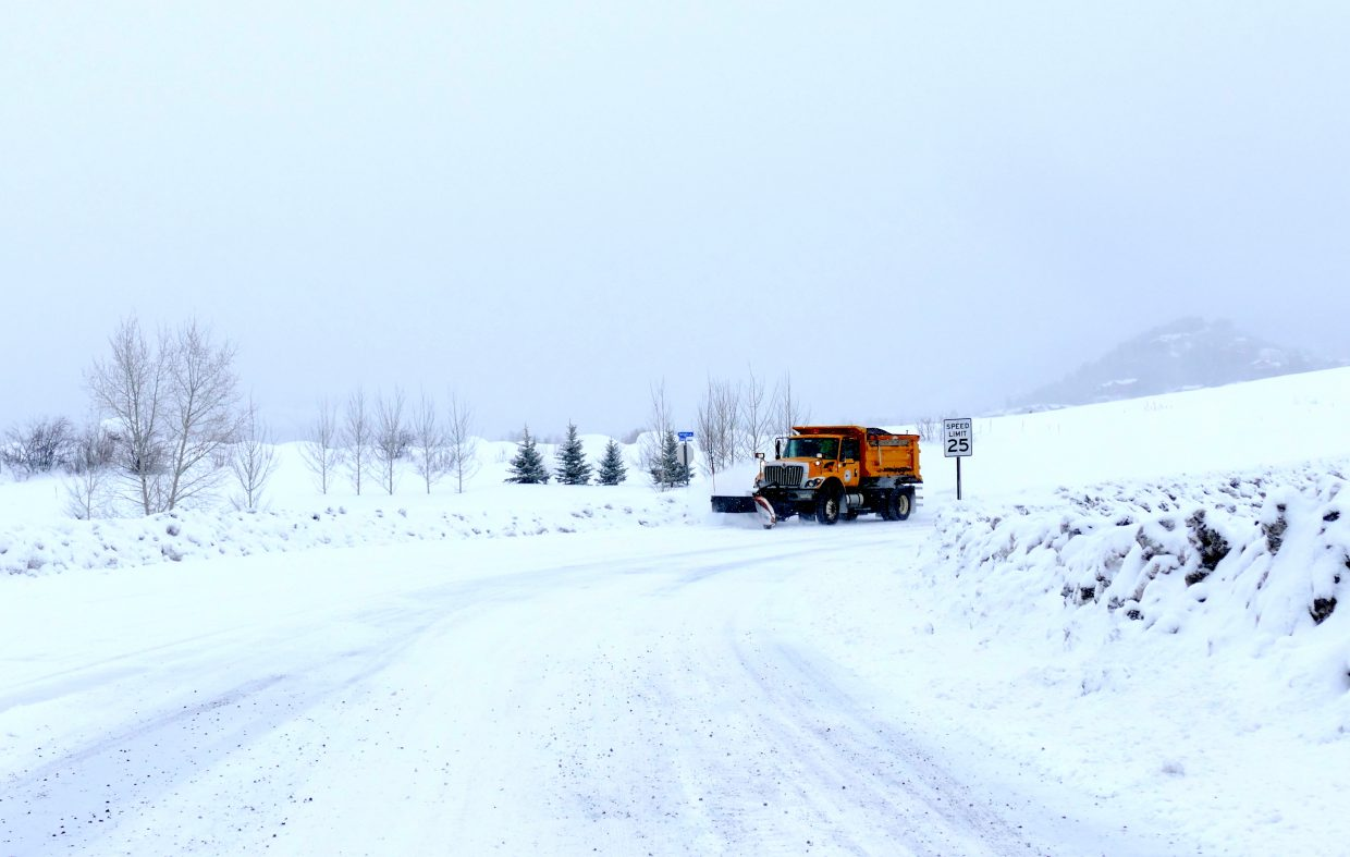 Early morning snow clearing in Steamboat Springs.