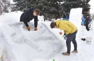 VIDEO: Winter Carnival snow sculptures take shape in downtown Steamboat